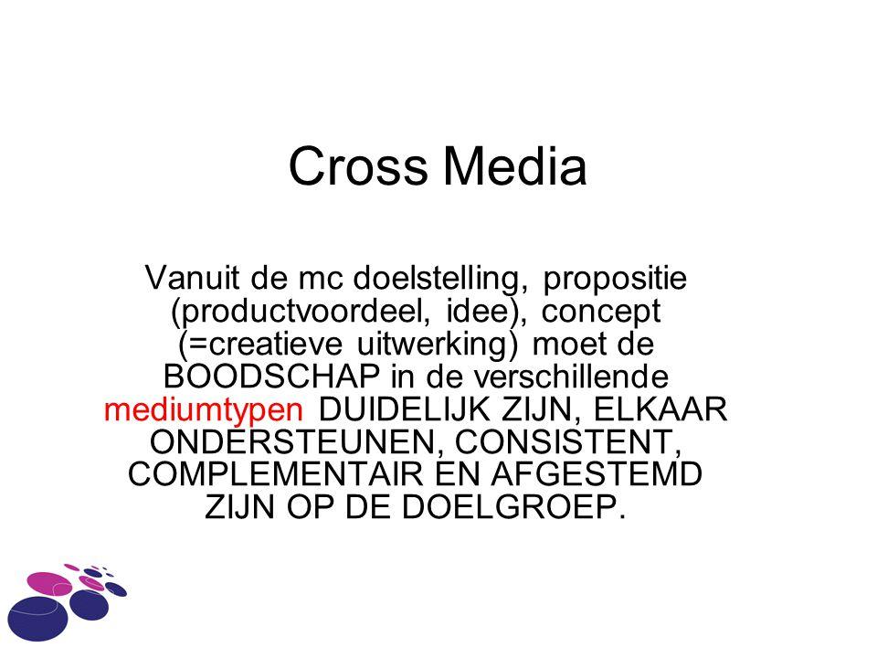 Cross Media Vanuit de mc doelstelling, propositie (productvoordeel, idee), concept (=creatieve uitwerking) moet de BOODSCHAP in de verschillende mediu