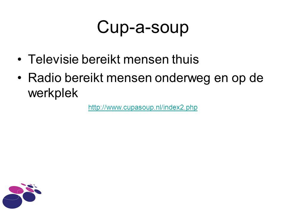 Cup-a-soup Televisie bereikt mensen thuis Radio bereikt mensen onderweg en op de werkplek http://www.cupasoup.nl/index2.php