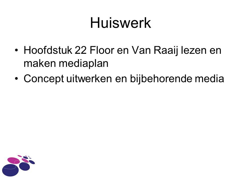 Huiswerk Hoofdstuk 22 Floor en Van Raaij lezen en maken mediaplan Concept uitwerken en bijbehorende media