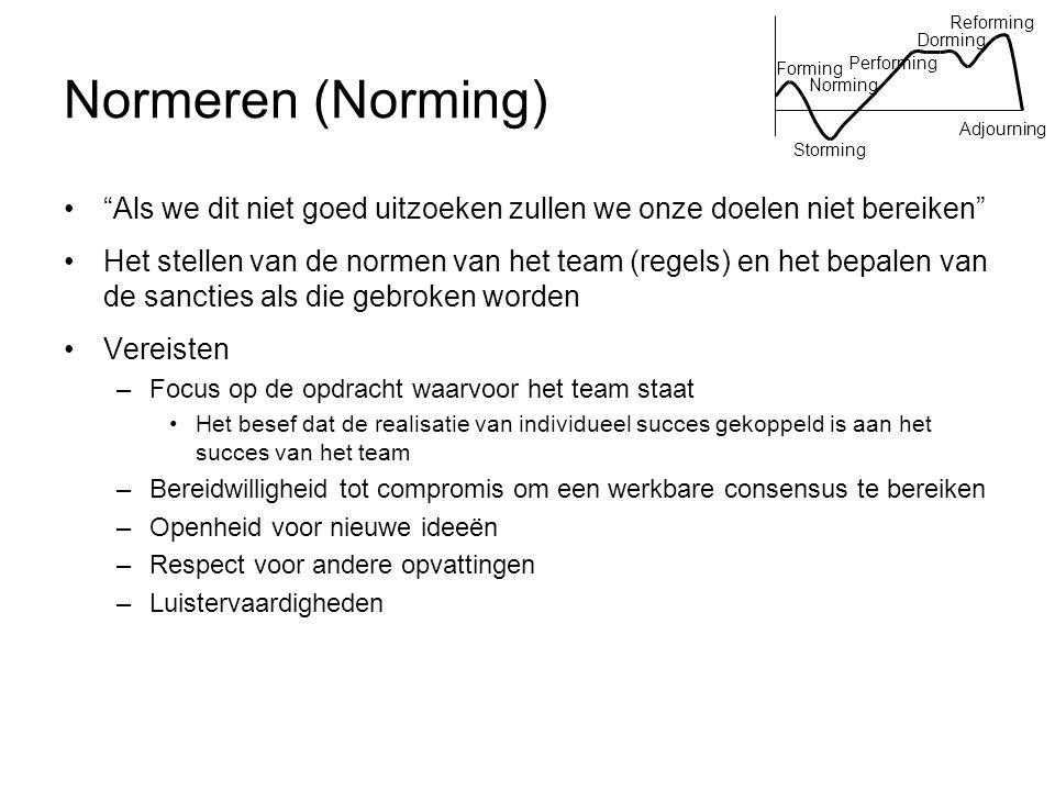 """Normeren (Norming) """"Als we dit niet goed uitzoeken zullen we onze doelen niet bereiken"""" Het stellen van de normen van het team (regels) en het bepalen"""