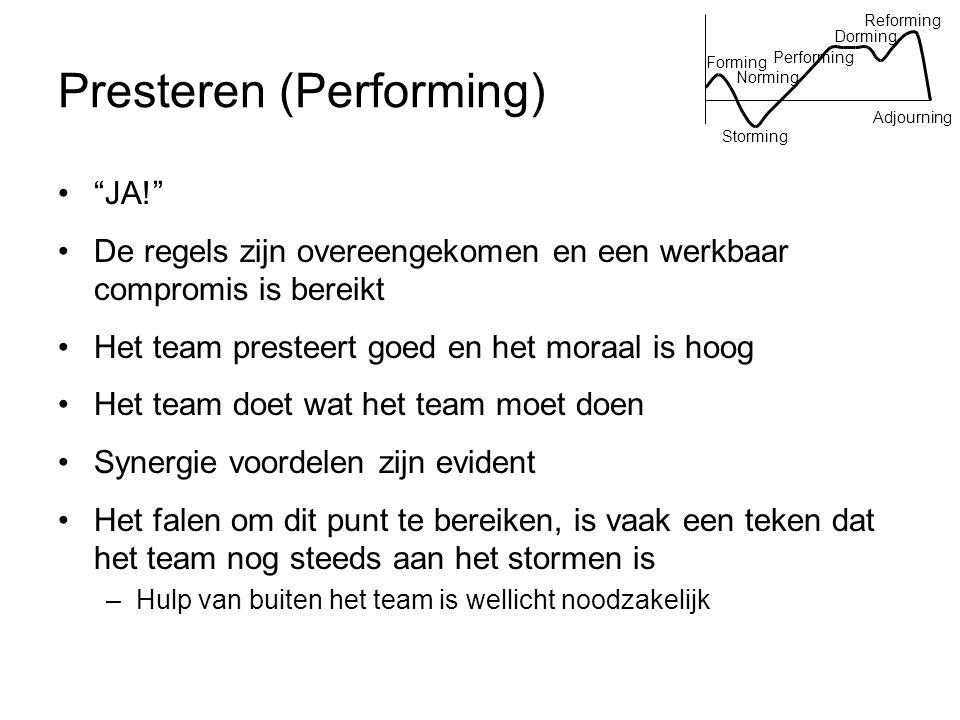 """Presteren (Performing) """"JA!"""" De regels zijn overeengekomen en een werkbaar compromis is bereikt Het team presteert goed en het moraal is hoog Het team"""