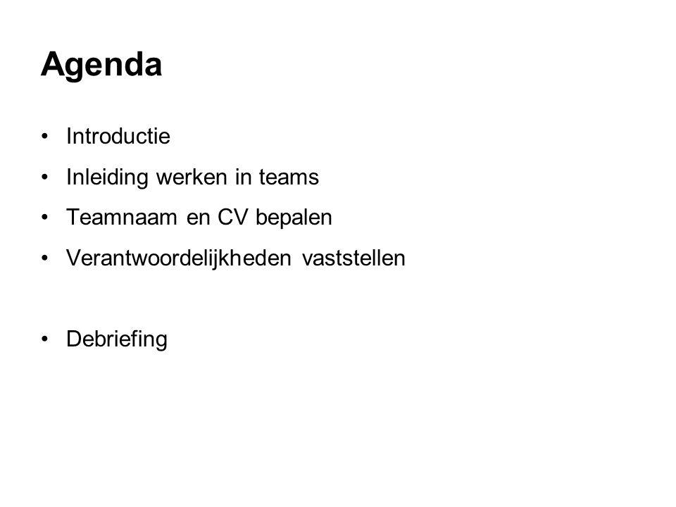 Agenda Introductie Inleiding werken in teams Teamnaam en CV bepalen Verantwoordelijkheden vaststellen Debriefing