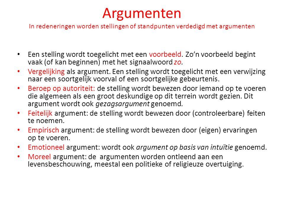 Argumenten In redeneringen worden stellingen of standpunten verdedigd met argumenten Een stelling wordt toegelicht met een voorbeeld. Zo'n voorbeeld b