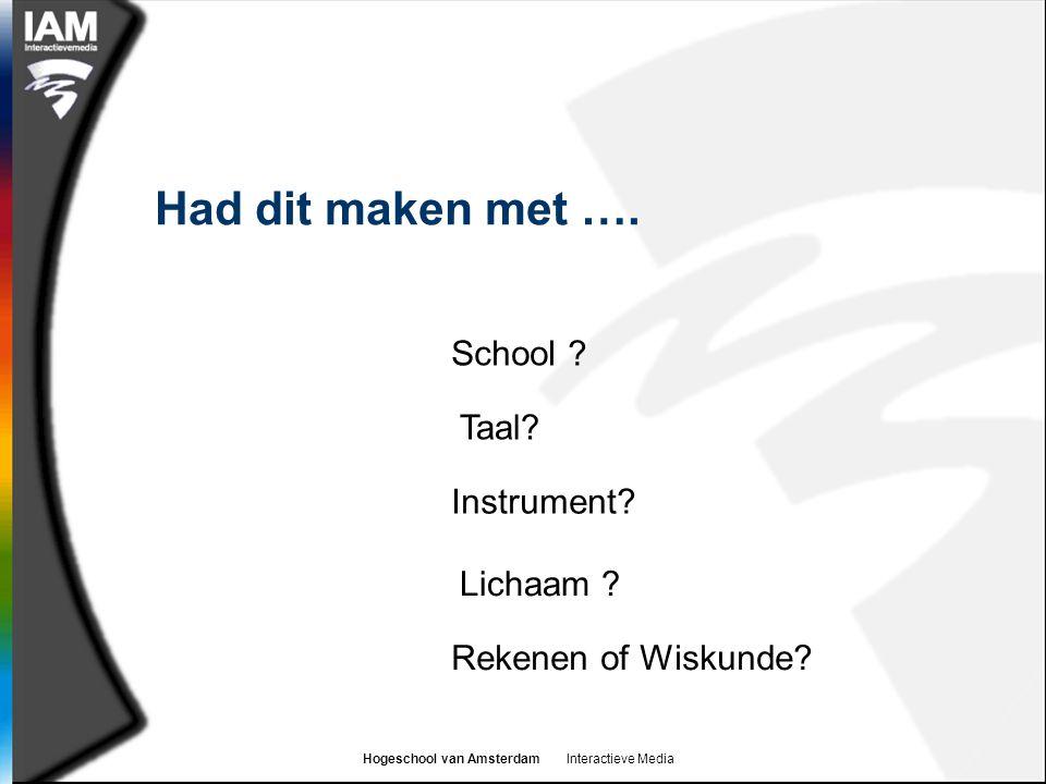 Hogeschool van Amsterdam Interactieve Media Had dit maken met ….