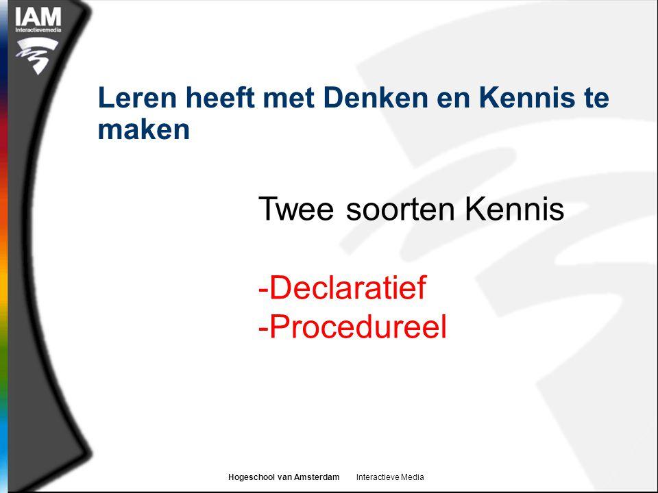 Hogeschool van Amsterdam Interactieve Media Leren heeft met Denken en Kennis te maken Twee soorten Kennis -Declaratief -Procedureel