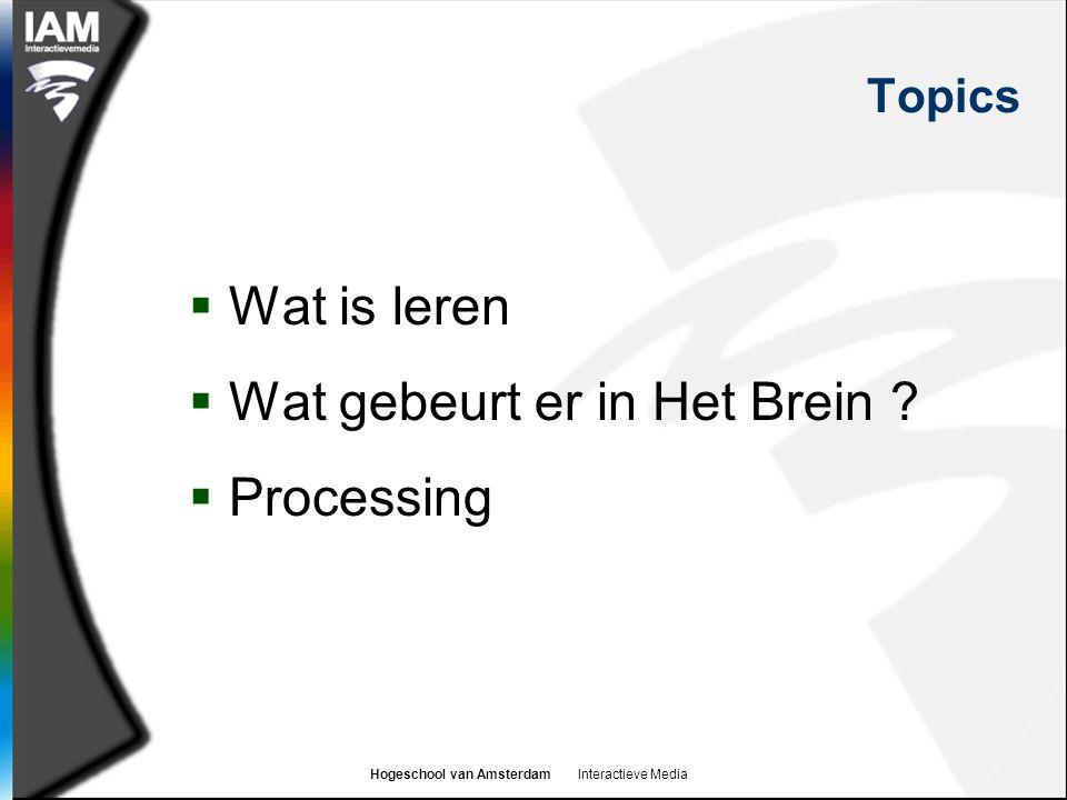 Hogeschool van Amsterdam Interactieve Media Topics  Wat is leren  Wat gebeurt er in Het Brein .