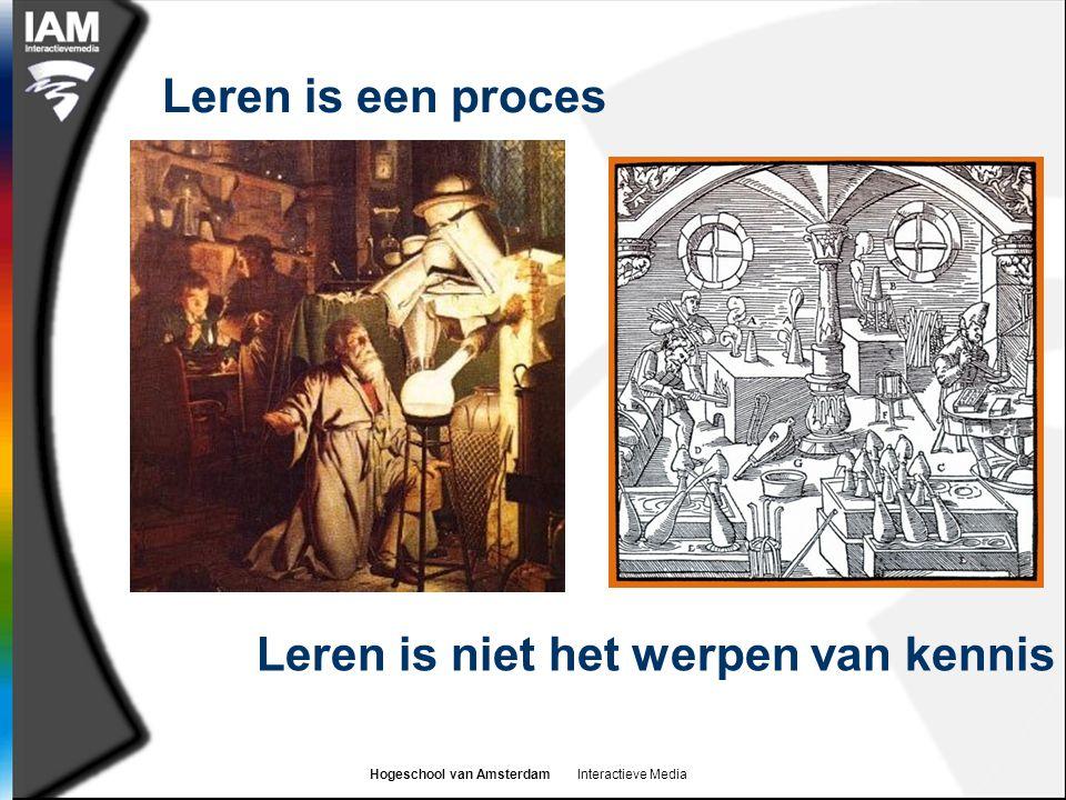 Hogeschool van Amsterdam Interactieve Media Leren is een proces Leren is niet het werpen van kennis
