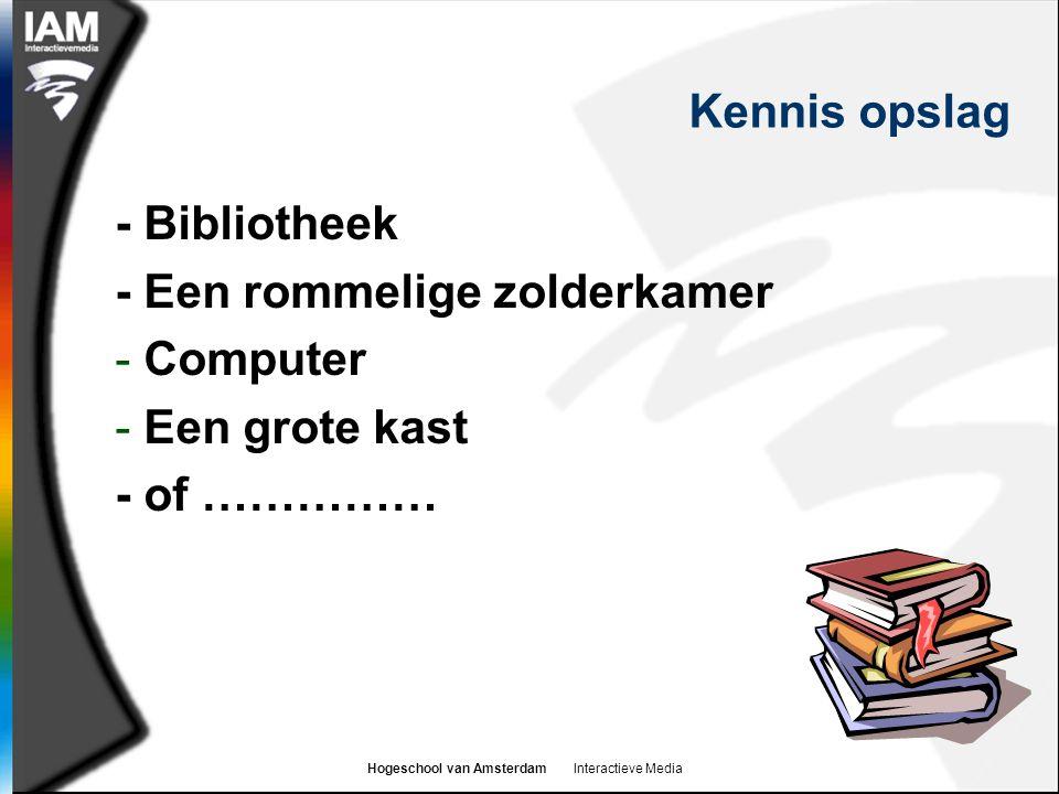 Hogeschool van Amsterdam Interactieve Media Kennis opslag - Bibliotheek - Een rommelige zolderkamer - Computer - Een grote kast - of ……………