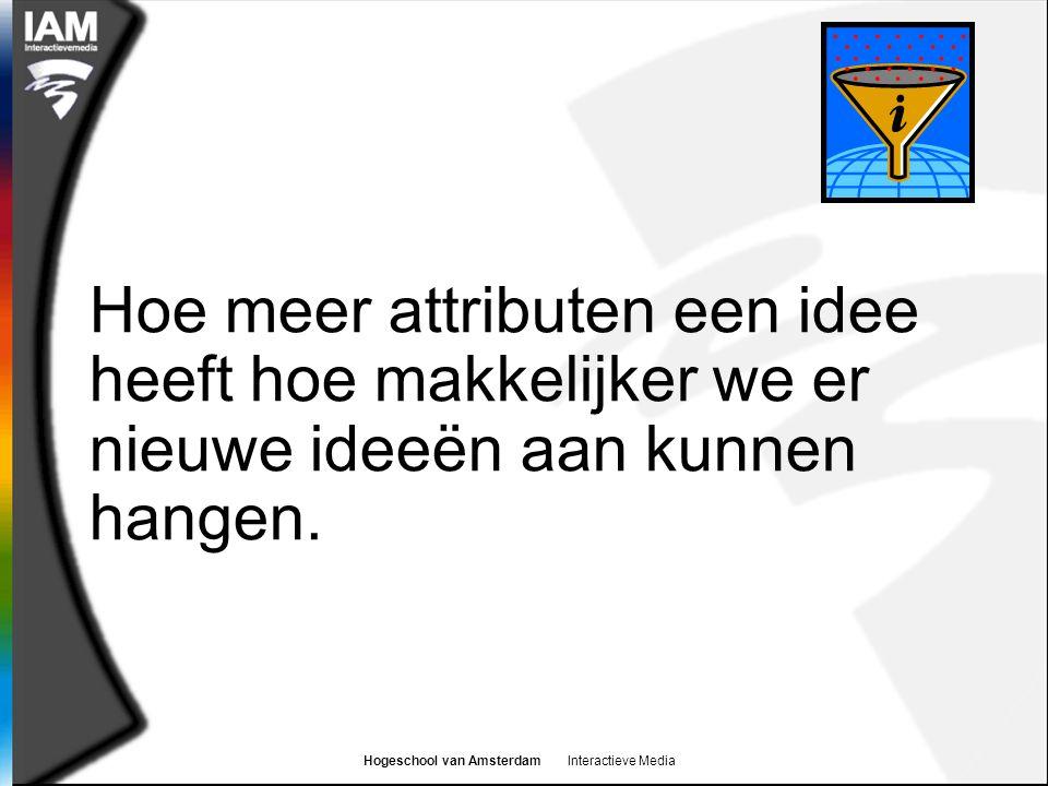 Hogeschool van Amsterdam Interactieve Media Hoe meer attributen een idee heeft hoe makkelijker we er nieuwe ideeën aan kunnen hangen.