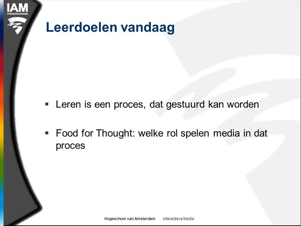 Hogeschool van Amsterdam Interactieve Media Leerdoelen vandaag  Leren is een proces, dat gestuurd kan worden  Food for Thought: welke rol spelen media in dat proces