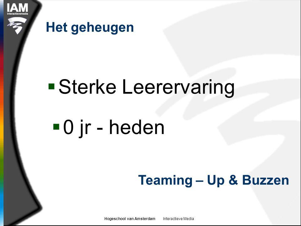 Hogeschool van Amsterdam Interactieve Media Het geheugen  Sterke Leerervaring Teaming – Up & Buzzen  0 jr - heden