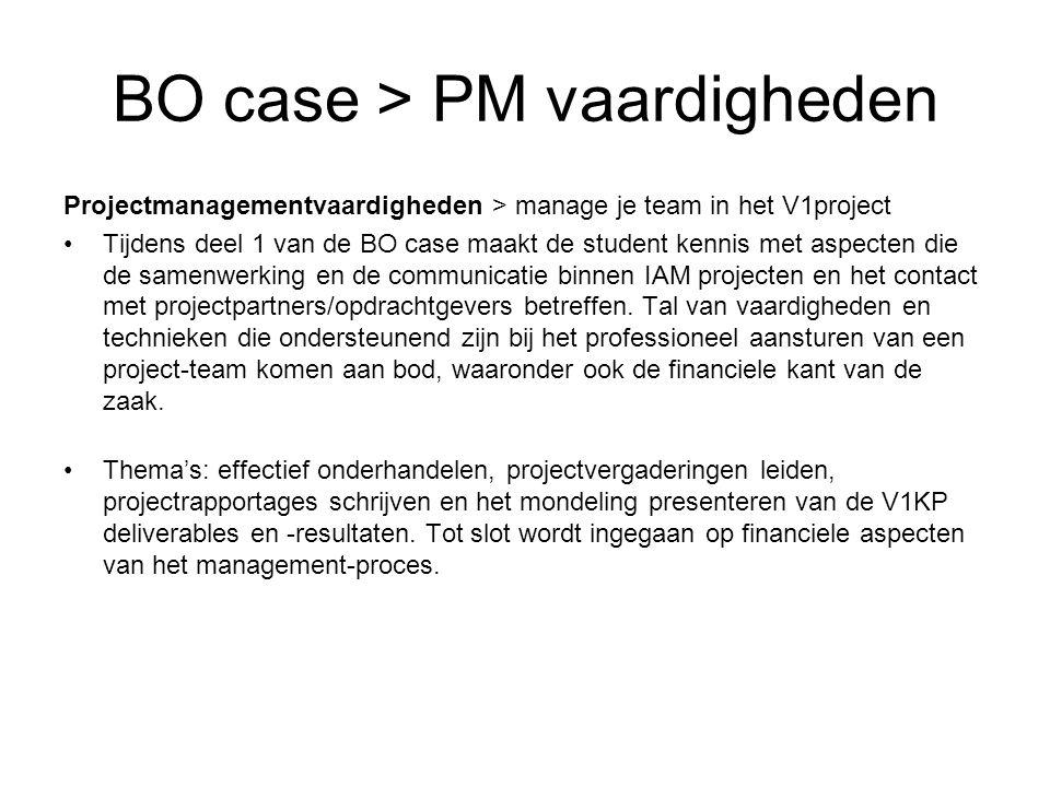 BO case > PM vaardigheden Projectmanagementvaardigheden > manage je team in het V1project Tijdens deel 1 van de BO case maakt de student kennis met aspecten die de samenwerking en de communicatie binnen IAM projecten en het contact met projectpartners/opdrachtgevers betreffen.