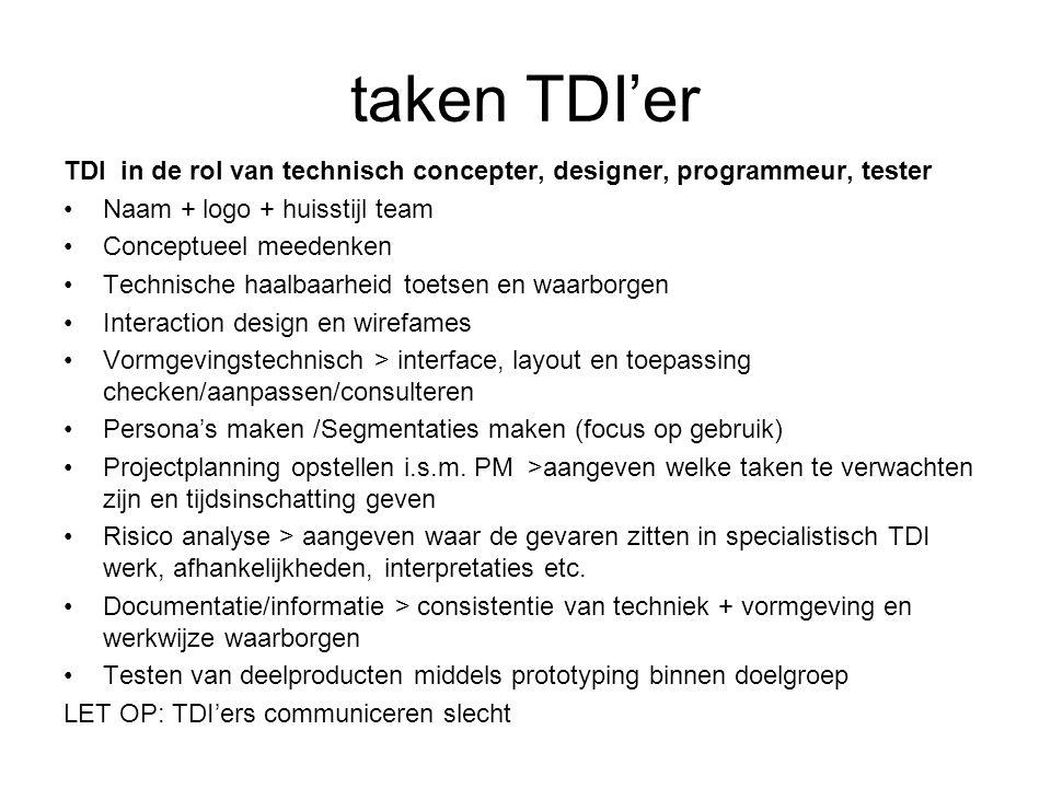 taken TDI'er TDI in de rol van technisch concepter, designer, programmeur, tester Naam + logo + huisstijl team Conceptueel meedenken Technische haalba