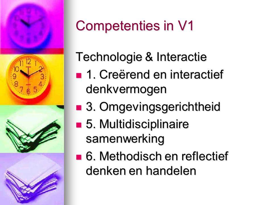 Competenties in V1 Technologie & Interactie 1. Creërend en interactief denkvermogen 1. Creërend en interactief denkvermogen 3. Omgevingsgerichtheid 3.