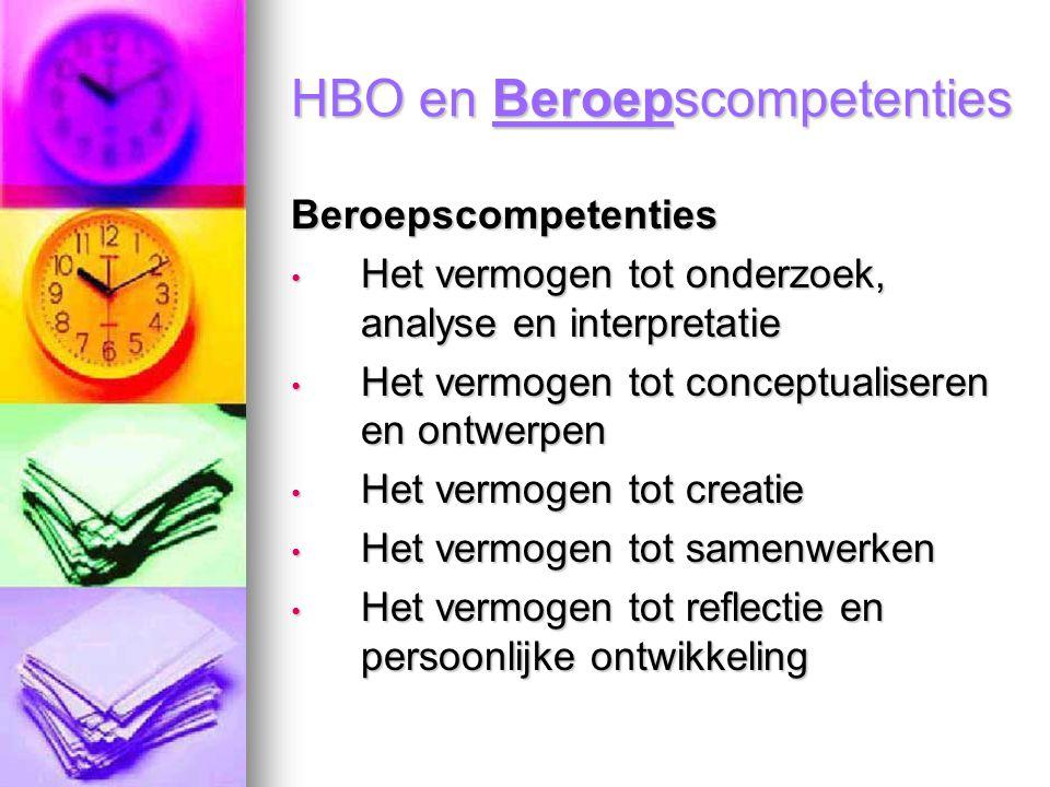 HBO en Beroepscompetenties Beroepscompetenties Het vermogen tot onderzoek, analyse en interpretatie Het vermogen tot onderzoek, analyse en interpretat