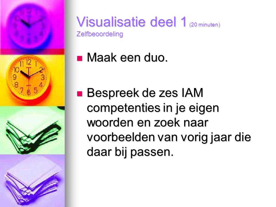 Visualisatie deel 1 (20 minuten) Zelfbeoordeling Maak een duo. Maak een duo. Bespreek de zes IAM competenties in je eigen woorden en zoek naar voorbee