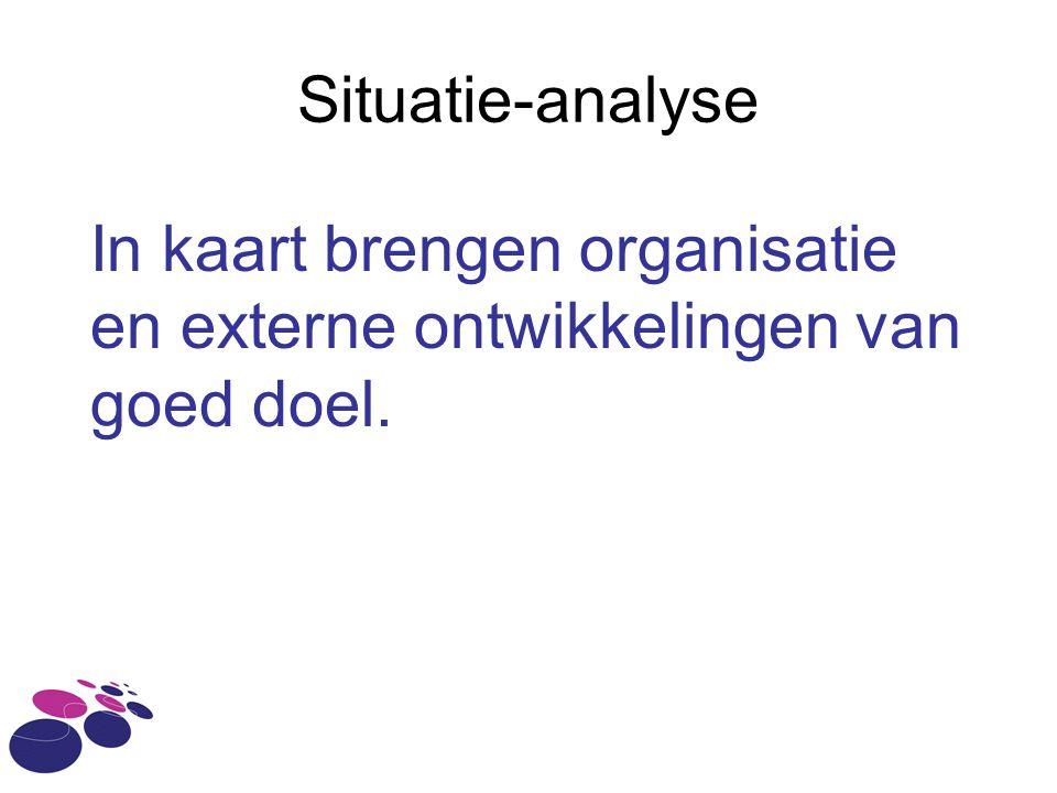 Situatie-analyse In kaart brengen organisatie en externe ontwikkelingen van goed doel.