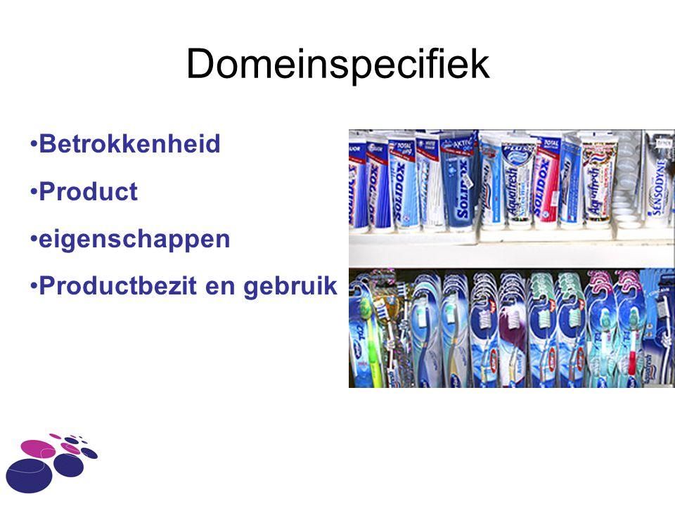 Domeinspecifiek Betrokkenheid Product eigenschappen Productbezit en gebruik