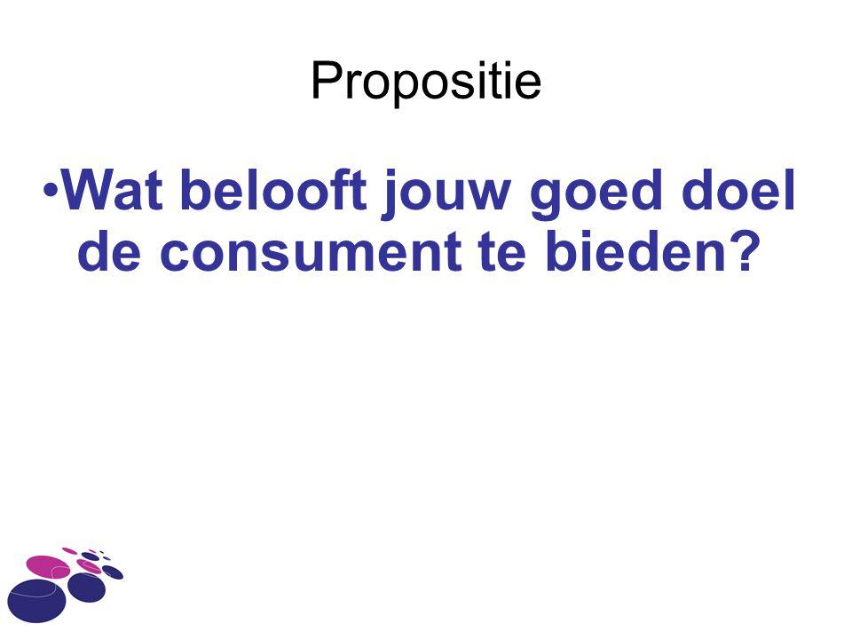 Propositie Wat belooft jouw goed doel de consument te bieden?