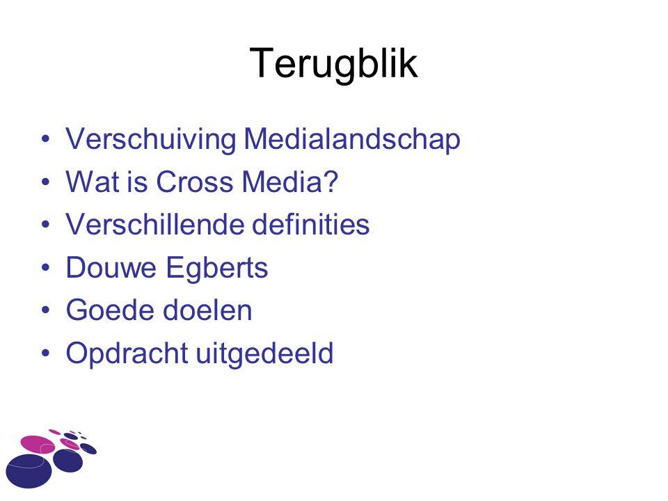 Terugblik Verschuiving Medialandschap Wat is Cross Media? Verschillende definities Douwe Egberts Goede doelen Opdracht uitgedeeld