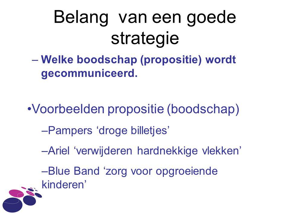 Belang van een goede strategie –Welke boodschap (propositie) wordt gecommuniceerd. Voorbeelden propositie (boodschap) –Pampers 'droge billetjes' –Arie