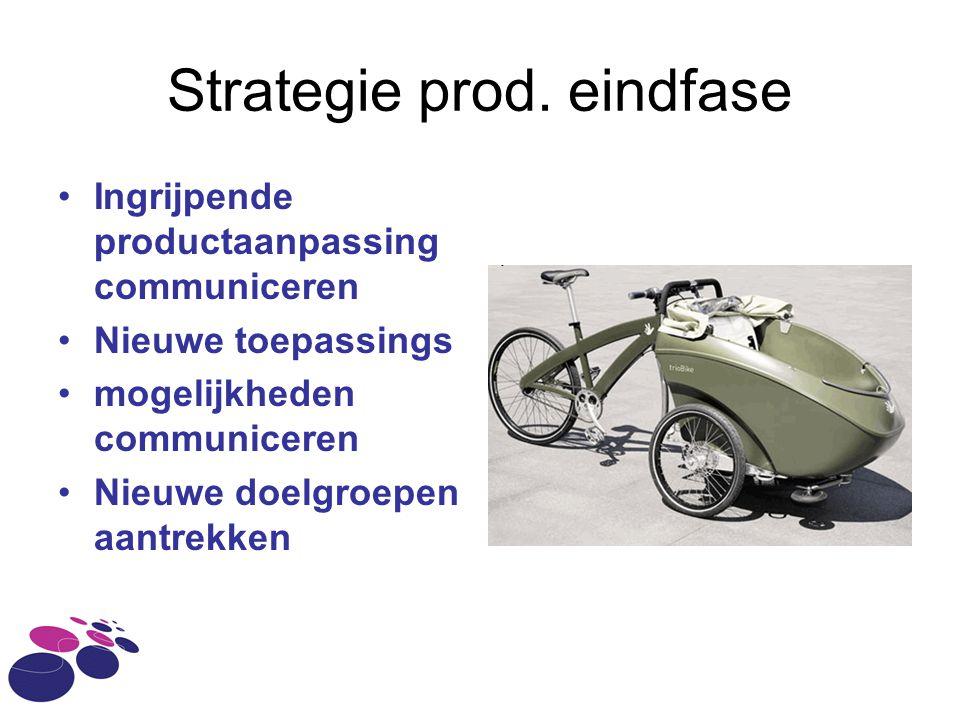 Strategie prod. eindfase Ingrijpende productaanpassing communiceren Nieuwe toepassings mogelijkheden communiceren Nieuwe doelgroepen aantrekken