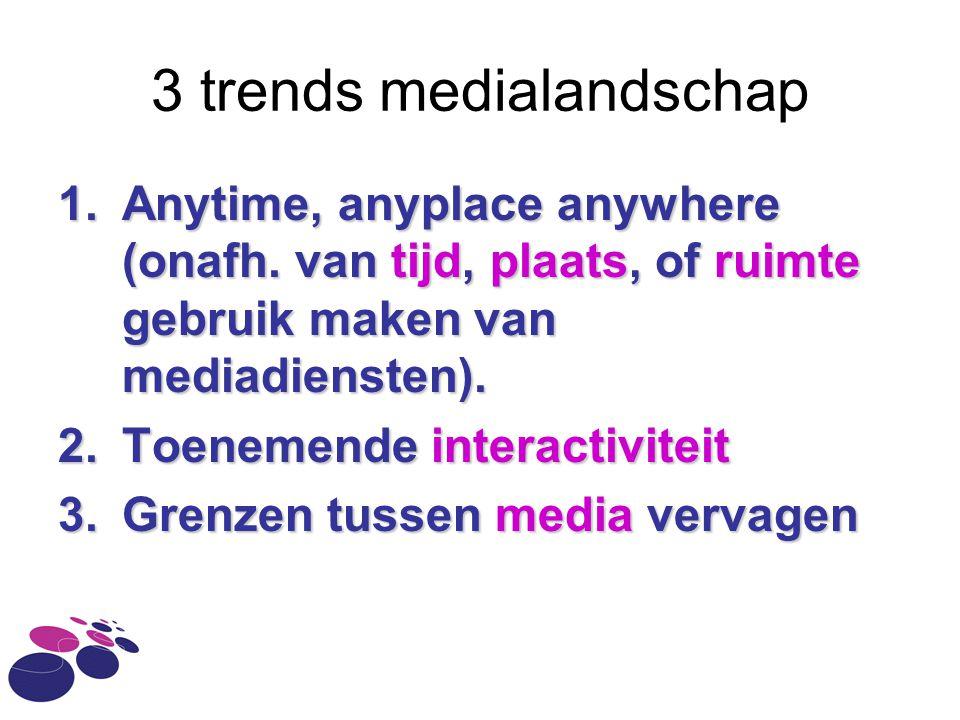 3 trends medialandschap 1.Anytime, anyplace anywhere (onafh. van tijd, plaats, of ruimte gebruik maken van mediadiensten). 2.Toenemende interactivitei