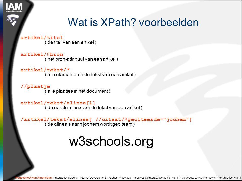 Hogeschool van Amsterdam - Interactieve Media – Internet Development – Jochem Meuwese - j.meuwese@interactievemedia.hva.nl - http://oege.ie.hva.nl/~meuwj/ - http://hva.jochem.nl oefeningen  Oefening 1:  Maak het voorbeeld xml document 'well-formed'  Oefening 2:  Ontwerp zelf een XML schema voor de boek recensies van het parool.