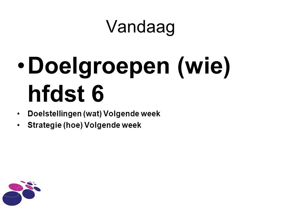 Vandaag Doelgroepen (wie) hfdst 6 Doelstellingen (wat) Volgende week Strategie (hoe) Volgende week