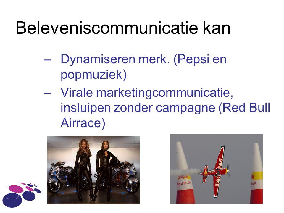 Beleveniscommunicatie kan –Dynamiseren merk. (Pepsi en popmuziek) –Virale marketingcommunicatie, insluipen zonder campagne (Red Bull Airrace)