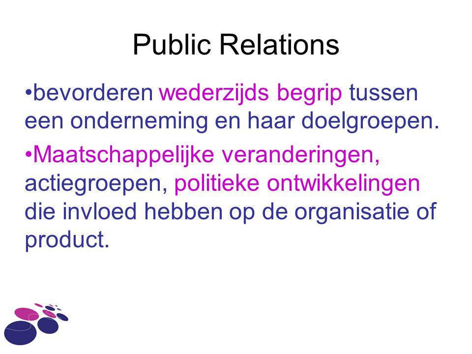 Public Relations bevorderen wederzijds begrip tussen een onderneming en haar doelgroepen. Maatschappelijke veranderingen, actiegroepen, politieke ontw