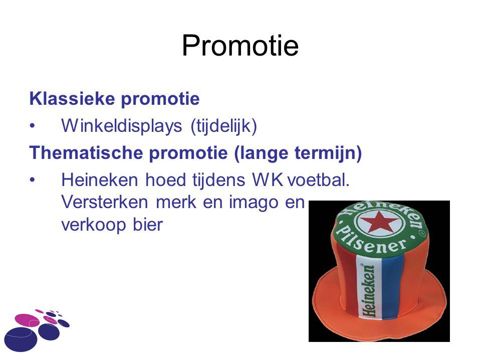 Promotie Klassieke promotie Winkeldisplays (tijdelijk) Thematische promotie (lange termijn) Heineken hoed tijdens WK voetbal. Versterken merk en imago