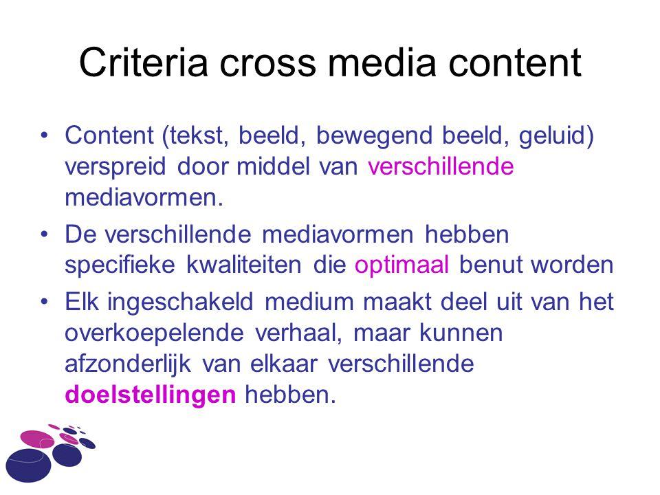 Criteria cross media content Content (tekst, beeld, bewegend beeld, geluid) verspreid door middel van verschillende mediavormen. De verschillende medi