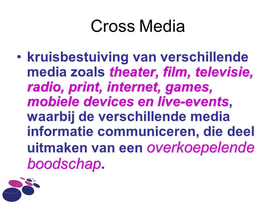 Cross Media theater, film, televisie, radio, print, internet, games, mobiele devices en live-events overkoepelende boodschapkruisbestuiving van versch