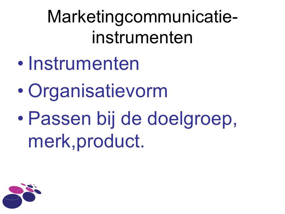 Marketingcommunicatie- instrumenten Instrumenten Organisatievorm Passen bij de doelgroep, merk,product.