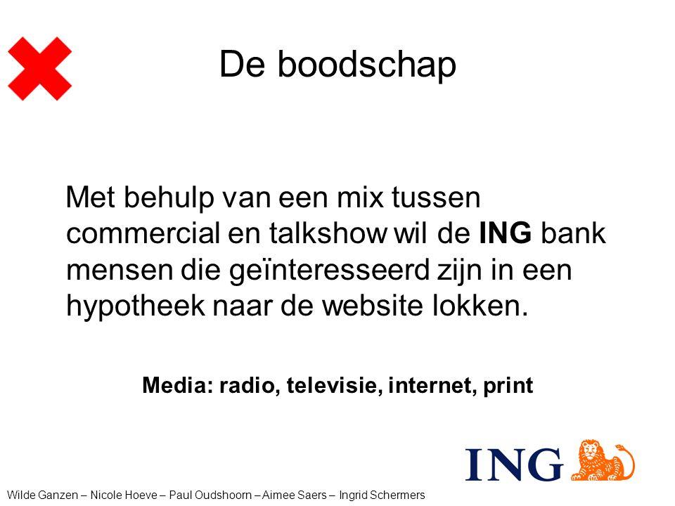 De boodschap Met behulp van een mix tussen commercial en talkshow wil de ING bank mensen die geïnteresseerd zijn in een hypotheek naar de website lokk