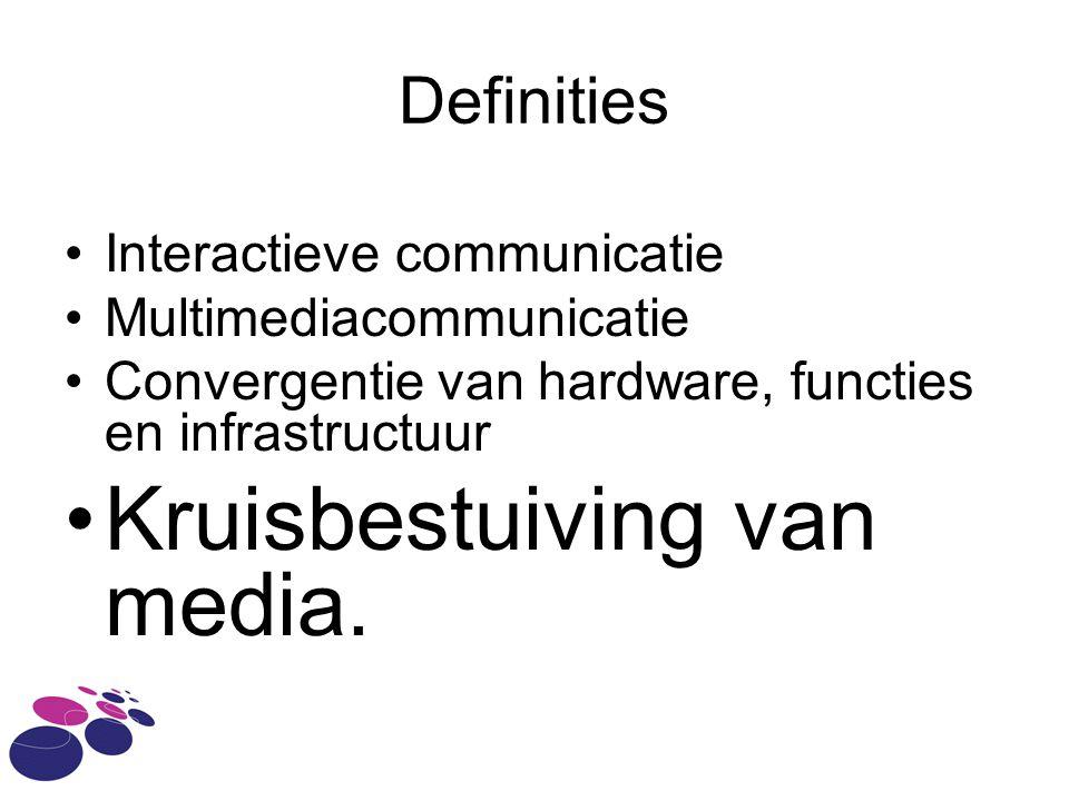 Definities Interactieve communicatie Multimediacommunicatie Convergentie van hardware, functies en infrastructuur Kruisbestuiving van media.