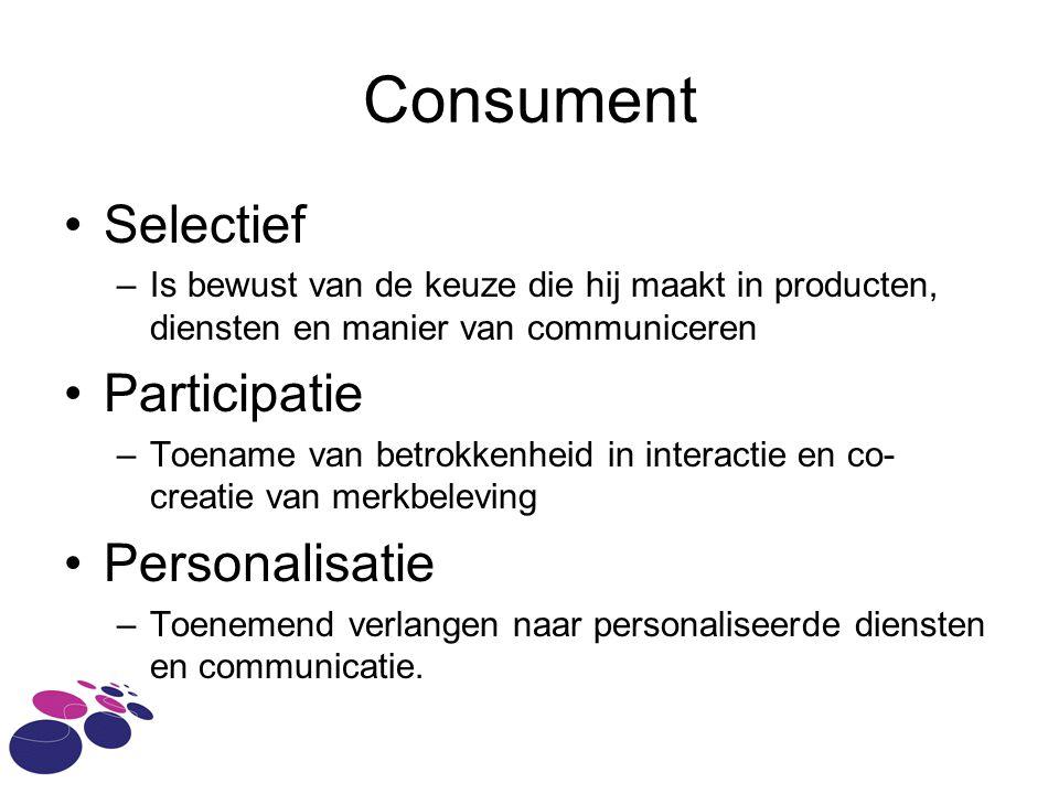 Consument Selectief –Is bewust van de keuze die hij maakt in producten, diensten en manier van communiceren Participatie –Toename van betrokkenheid in