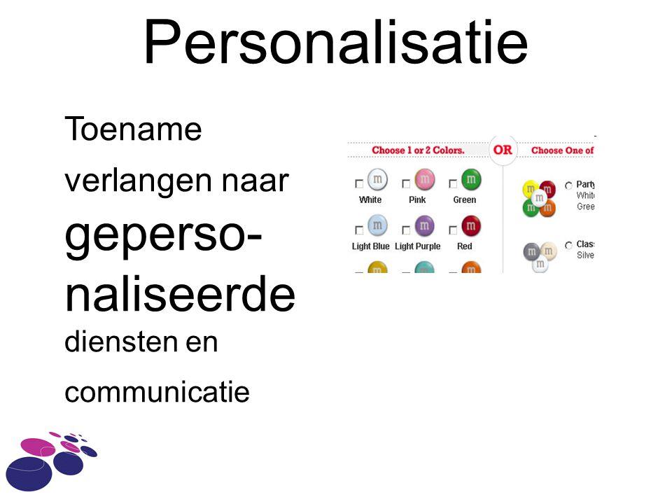Personalisatie Toename verlangen naar geperso- naliseerde diensten en communicatie