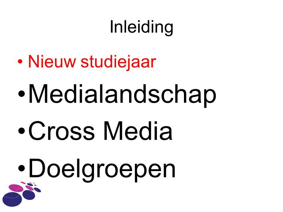 Inleiding Nieuw studiejaar Medialandschap Cross Media Doelgroepen