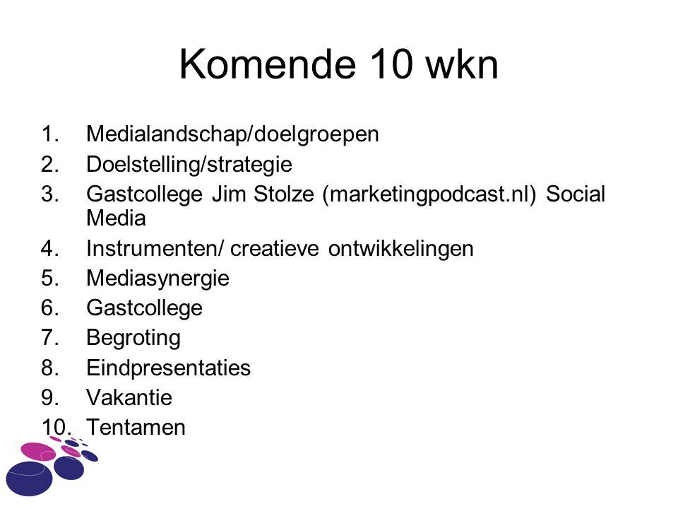 Komende 10 wkn 1.Medialandschap/doelgroepen 2.Doelstelling/strategie 3.Gastcollege Jim Stolze (marketingpodcast.nl) Social Media 4.Instrumenten/ creat