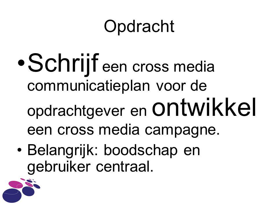 Opdracht Schrijf een cross media communicatieplan voor de opdrachtgever en ontwikkel een cross media campagne. Belangrijk: boodschap en gebruiker cent