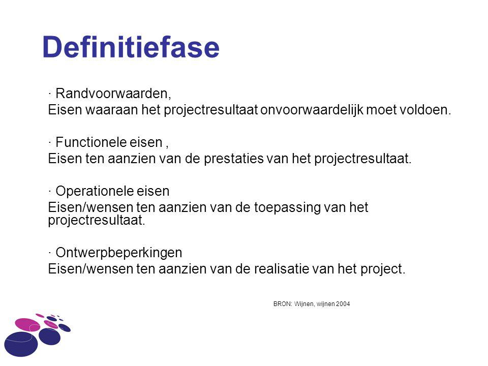 · Randvoorwaarden, Eisen waaraan het projectresultaat onvoorwaardelijk moet voldoen. · Functionele eisen, Eisen ten aanzien van de prestaties van het