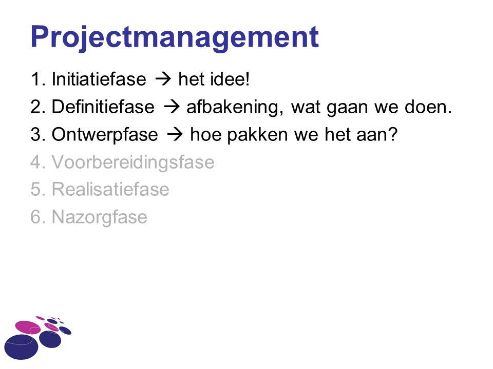 Projectmanagement 1. Initiatiefase  het idee! 2. Definitiefase  afbakening, wat gaan we doen. 3. Ontwerpfase  hoe pakken we het aan? 4. Voorbereidi
