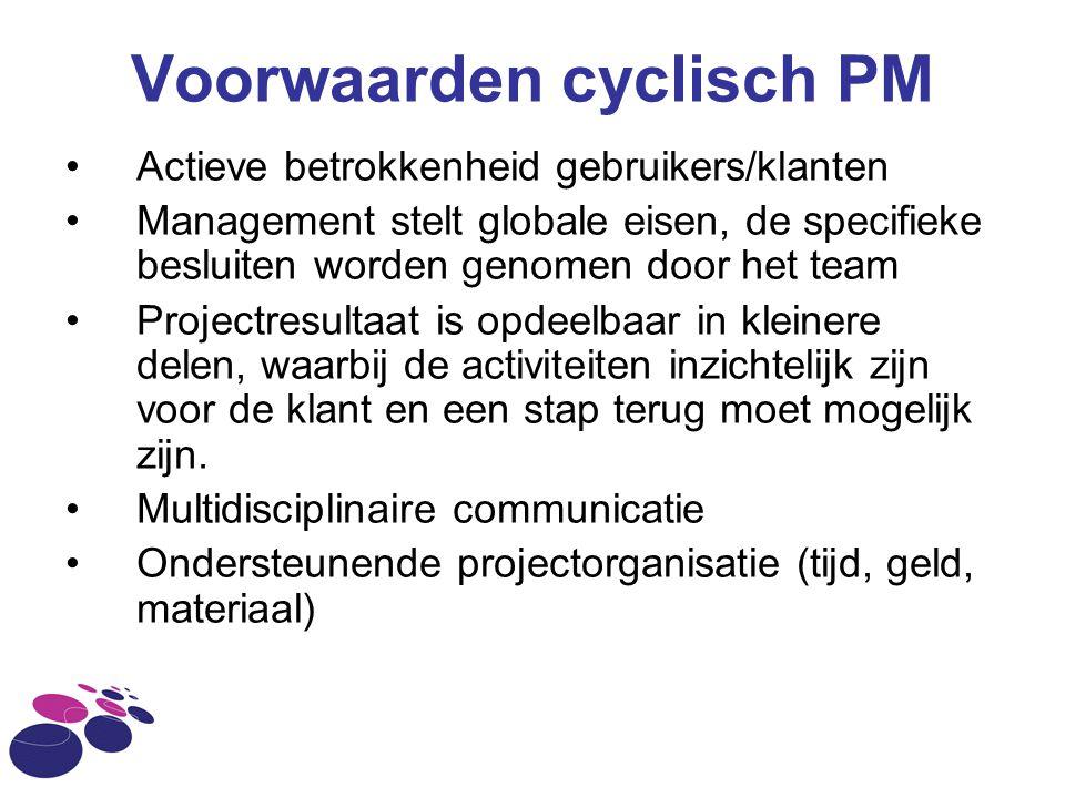 Voorwaarden cyclisch PM Actieve betrokkenheid gebruikers/klanten Management stelt globale eisen, de specifieke besluiten worden genomen door het team