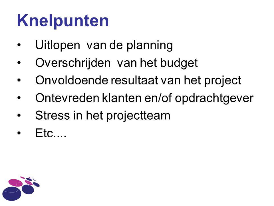 Knelpunten Uitlopen van de planning Overschrijden van het budget Onvoldoende resultaat van het project Ontevreden klanten en/of opdrachtgever Stress i