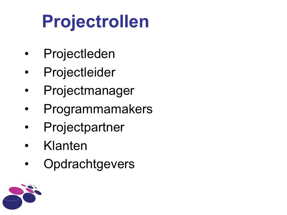 Projectrollen Projectleden Projectleider Projectmanager Programmamakers Projectpartner Klanten Opdrachtgevers