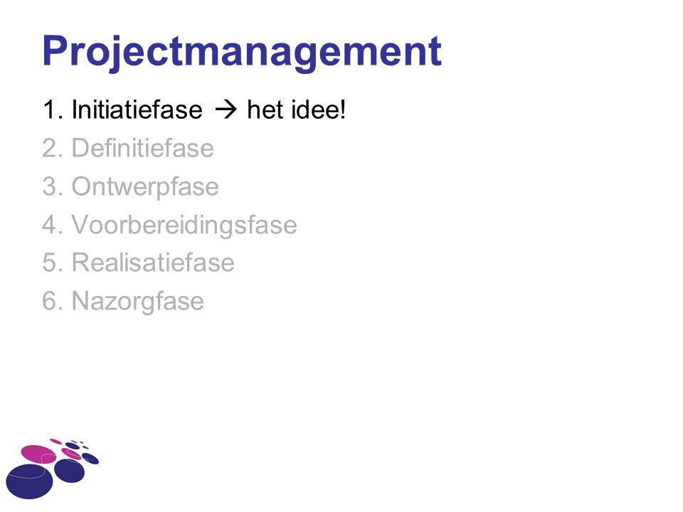 Projectmanagement 1. Initiatiefase  het idee! 2. Definitiefase 3. Ontwerpfase 4. Voorbereidingsfase 5. Realisatiefase 6. Nazorgfase