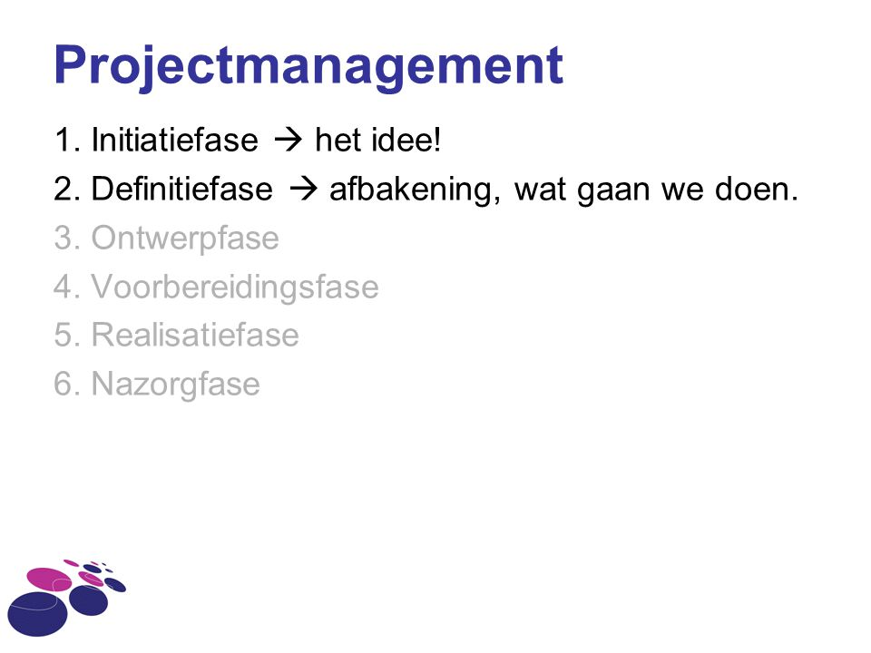 Projectmanagement 1. Initiatiefase  het idee! 2. Definitiefase  afbakening, wat gaan we doen. 3. Ontwerpfase 4. Voorbereidingsfase 5. Realisatiefase