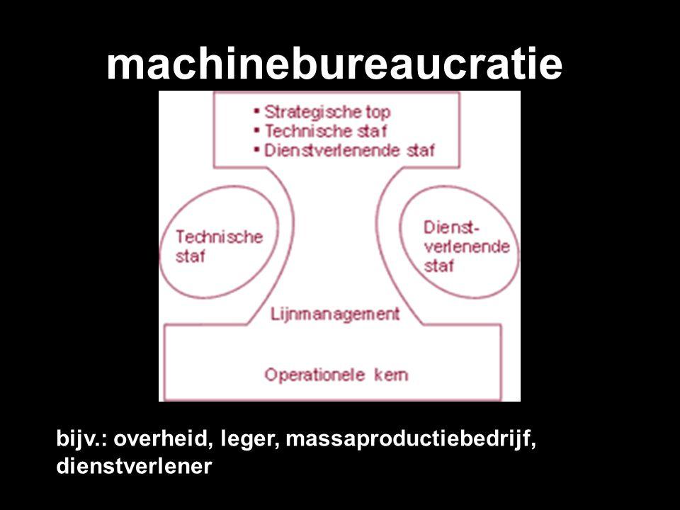 machinebureaucratie bijv.: overheid, leger, massaproductiebedrijf, dienstverlener